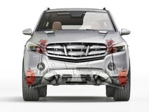 Suv front suspension system in ghost effect. Front view. On white background. Clipping path included royalty free illustration