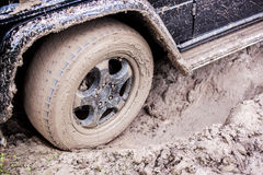SUV got stuck in the mud in the forest, off-road Stock Image
