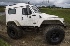 SUV with huge wheels Stock Image