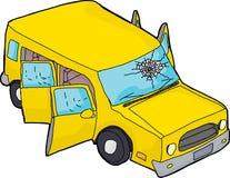 SUV jaune avec le pare-brise cassé illustration libre de droits