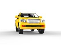 SUV jaune d'isolement sur le blanc - vue de face Photos libres de droits
