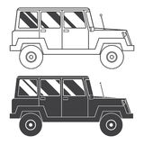 Suv Jeep Outline and Thin Line Icon. Adventure traveler truck outline and thin line icon. Suv jeep for safari and extreme travel pictogram in black and white Stock Photos