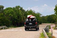 SUV with kayaks Stock Photo