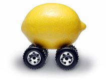SUV Lemon Car. Lemon SUV car with large tires royalty free stock photography