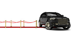 SUV limousine with a red carpet Stock Image