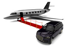 SUV limousine with a red carpet jet plane Royalty Free Stock Photo
