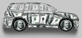 SUV made from dollars. This is a great car made from dollars Stock Images