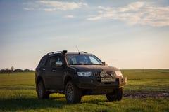 SUV Mitsubishi Pajero Sport. Kalmykia region, Russia. 04-16-2016 Royalty Free Stock Image