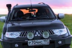 SUV Mitsubishi Pajero Sport. Kalmykia region, Russia. 04-16-2016 Royalty Free Stock Photo