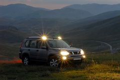 SUV on the mountain royalty free stock photo