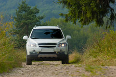 SUV on a mountain road 3 Royalty Free Stock Image