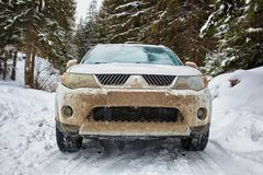 SUV in the mountains Stock Images
