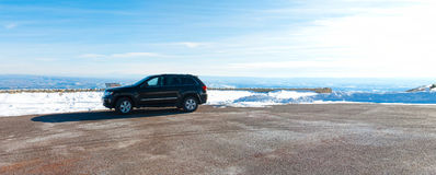 SUV parked off road. An SUV parked on a vista point in Utah royalty free stock image