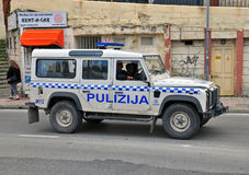 SUV police of Malta. SLIEMA, MALTA - FEBRUARY 28: SUV of Malta police department on the street of Sliema on february 28, 2014. Sliema is a town located on the Stock Images