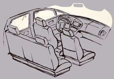 Interior of the car. Vector drawing. Suv rear chair, rudder, tachometer, monitor  on white background. Freehand line black ink hand drawn icon picture sketchy in Royalty Free Stock Images