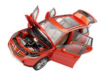 Suv red car with open doors viewed from above. Stock Image