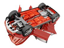 Suv red car with open doors viewed from bottom. Royalty Free Stock Images