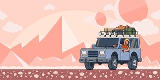 SUV samochód z bagażem na dachowym i uśmiechniętym facecie za kołem na extraterrestrial pustyni krajobrazu tle nietypowy royalty ilustracja