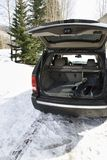 SUV with ski equipment. Royalty Free Stock Photo