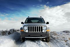 SUV on snow stock photos