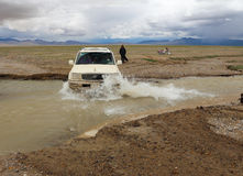 The SUV in Tibet royalty free stock photography