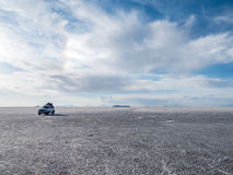 SUV on Uyuni Salt flat stock photos