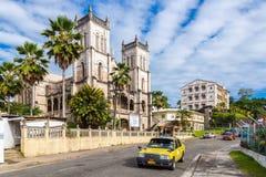 Suva, Fidschi Heilige Herz-Kathedrale von Suva, Erzdiözese von Suva Roman Catholic-Kirche Vibrierendes Suva-Stadtzentrum, Ozeanie stockfotografie