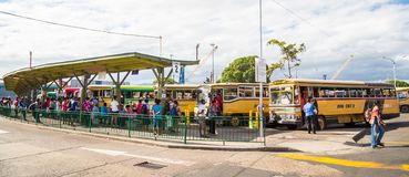 Suva, Fiji. Busy central bus station in Suva city center downtown full of hurrying passengers. Viti Levu, Fiji, Melanesia, Oceania royalty free stock photos