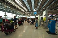 Suvarnabhumi Airport. BANGKOK - MARCH 2 :The main concourse of Suvarnabhumi Airport , designed by Helmut Jahn is the world's third largest single-building Stock Image