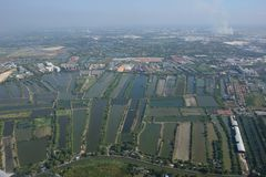 Suvarnabhumi Airport Bangkok aerial view paddy field Royalty Free Stock Photos
