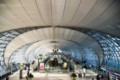 Suvarnabhumi Airport (BKK) is the main hub for Thai Airways. Royalty Free Stock Photo