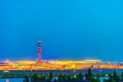 Suvarnabhumi Airport at night royalty free stock images