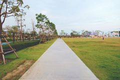 Suvarnabhumi airport, samut prakan, thailand-february 17, 2019: walking track in public park stock photos