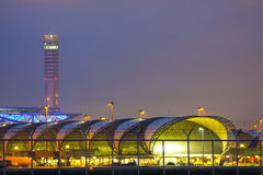Suvarnabhumi Airport at twilight Royalty Free Stock Photography