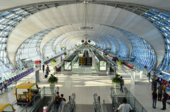 Suvarnabhumi Bangkok Airport. The main concourse of Suvarnabhumi Airport at Bangkok is the world's third largest single-building airport terminal on November 3 stock photography