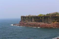 Suvarndurg fort, back view of bastion and Arabic sea, Fateghad, Kokan. Maharashtra Stock Photos