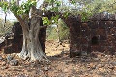 Suvarndurg fort, back view of bastion and Arabic sea, Fateghad, Kokan. Maharashtra Stock Image