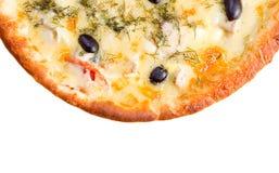 suverän isolerad pizza Arkivfoto