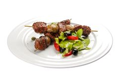 Suvlaki Un plat grec traditionnel image stock