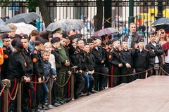 Suvorov Military School cadets expected changing Stock Image