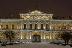 Suvorov Military School. Saint-Petersburg, Russia. The building of the Vorontsov Palace. Night photo. Suvorov Military School. Saint-Petersburg, Russia. The stock photos