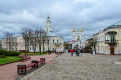 Suvorova street and view of Voskresenskaya (Rynkovaya) church an Stock Image