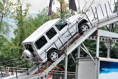 All-wheel-drive SUV climbing performance. A Mercedes G - 500 suvs climbing demonstration in chengdu international auto show Royalty Free Stock Photo