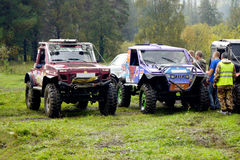 SUVs before the start Stock Images