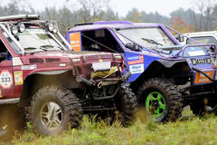 SUVs before the start Stock Photo