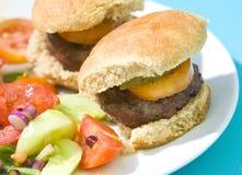 Suwaków piec na grillu Hamburgery Zdjęcie Royalty Free