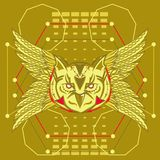 Owl sacred geometry vector illustration
