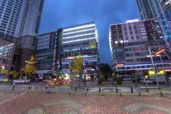 SUWON KOREA - NOVEMBER 13, 2015: Gata av den Suwon staden i Korea i th Arkivbilder