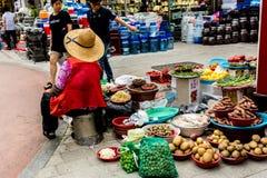 Suwon Sydkorea - Juni 25, 2017: Försäljarekvinna som säljer grönsaker och frukter i gatamarknaden på centret i Suwon fotografering för bildbyråer