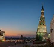 Suyumbike塔 喀山市,俄罗斯 免版税库存照片
